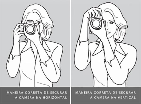 Como segurar a câmera corretamente